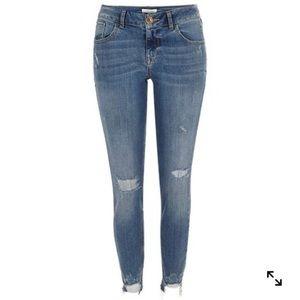 RIVER ISLAND Raw Hem Skinny Jeans In Mid Wash | 8